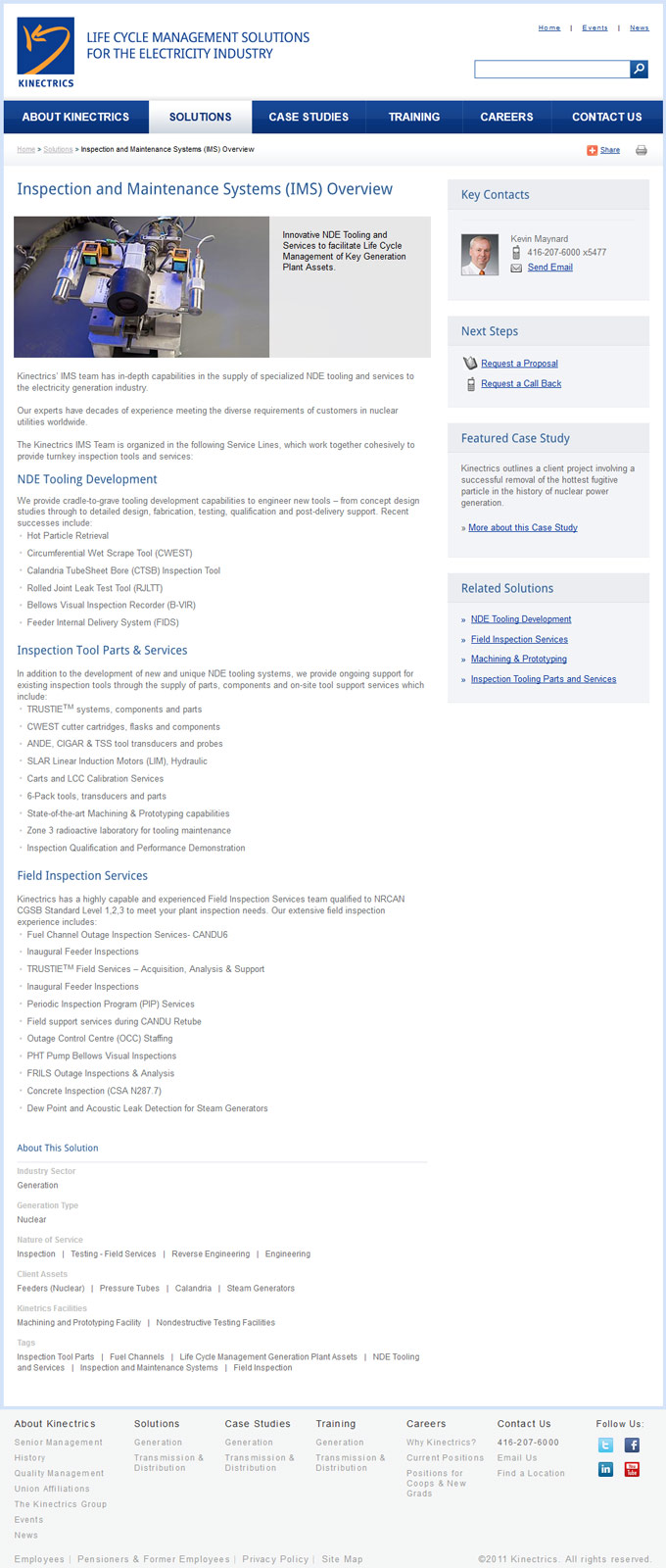 Content Page of Kinectrics SharePoint Website